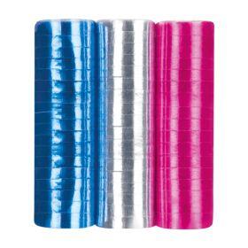 Serpentiner, 3pk sølv, blå og rosa metallisk
