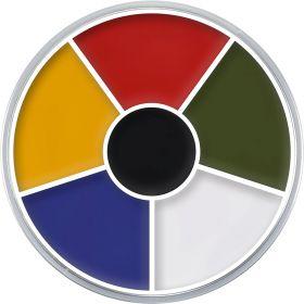 fettsminke i en rund embalasje i fargene rød, grønn, hvit, blå, gul og sort.