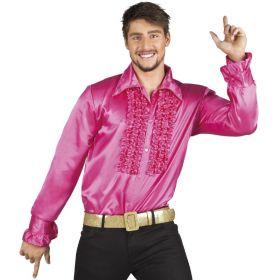 Bilde av en mann i Disco Skjorte mørk rosa. Mørk rosa skjorte med rysjete bryst.