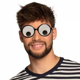 sorte briller med to store sorte pupiller som beveger seg rundt i glasset i takt med dine bevegelser. Brillegrassene har en tynn hvit bakgrunn med mange små hull så du enkelt ser gjennom glasset.
