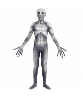 Bilde av et barn ikledd The Rake Morphsuit. Et heldekkende monster kostyme med lange fingre