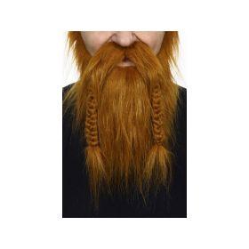 Rødt Viking skjegg & Bart med fletter