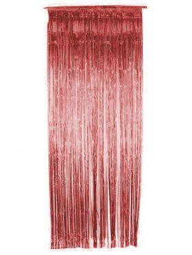 Glittergardin, rød metallic