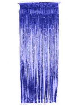 Glittergardin, blå metallic