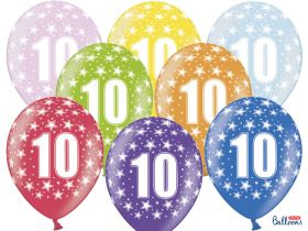 10-års ballonger i fargene rosa, gul, lys blå, grønn, orrange, rød, lilla og blå