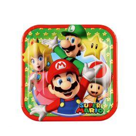 Super Mario tallerken i papp med karakterene Mario, Luigi, Prinsesse Peach, Super Star og Toad. I fargene grønn, rød og blå