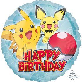 Folieballong, Happy Birthday Pikachu, 43 cm