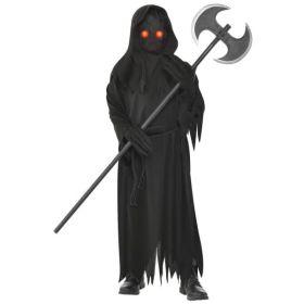 Sort heldekkende kappe med hette, hansker med ekstra lange fingre og en sort maske med to pærer som lyser rødt