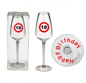 Champagne glass, Happy Birthday 18
