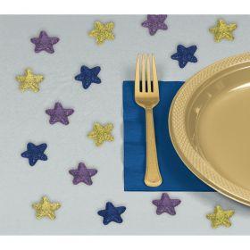 stjerner på ca 3cm lange i glitter med fargene gull, lilla og blå til å strø utover et hvert festbord