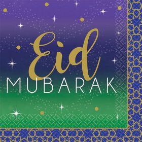 små, firkantet servietter med lilla farge og grønn farge med teksten eid Mubarak i gull og hvit skrift med små stjerner i gull og hvit rundt om på serviettene