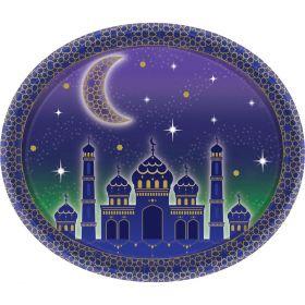 ovale papptallerkener med lilla farge og motiv av tempel, måne og stjerner. rammen rundt papptallerken er litt hevet slik at maten ikke skal falle ut og er dekorert med masse stjerner og mørk-lilla bakgrunn
