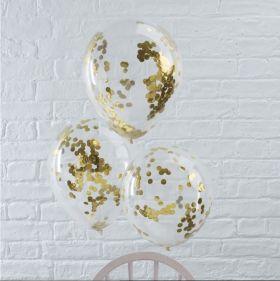 nydelige transparente ballonger med gullfarget konfetti inni ballongene
