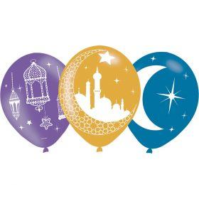 ballonger i lilla, gull og blå med tre forskjellige motiv, et med hengekamper, et med måne og religiøse bygninger og et med måne og stjerner