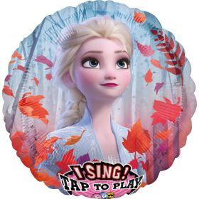 rund folieballong med anstieg til den tøffe prinsesse Elsa på midten. Rundt er det motiv av den kjente skogen fra Frost 2 filmen med blått øverst og orrange/røde høstblander svirrende rundt henne