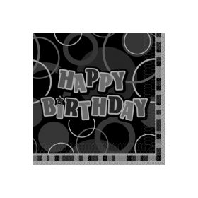 Glitz Birthday Svart/Sølv, 16 servietter