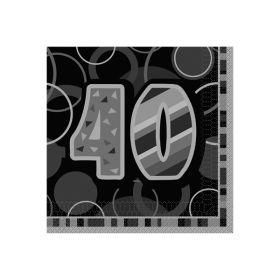 Glitz Birthday Sort-40, 16 servietter