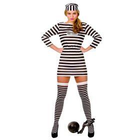 strippete hatt og fangedrakt av en kjole som stopper litt over knærne med innsnøring ved midjen.