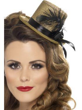 Miniflosshatt med strikk, gull