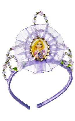 lilla tiara med lille stoff på midten av kronen. tiaraen er i hårbøyle fasong og kan dermed bøyes til en hvis grad for å passe ulike hodeformen. bilde av prinsesse Rapunsel i midten og med gull og lilla perler rundt om på kronen