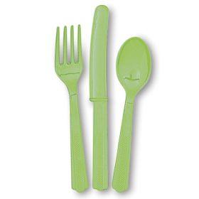 Plastbestikk - limegrønn, 18 deler
