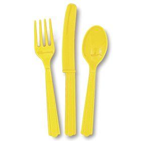 Plastbestikk  gul, 18 deler
