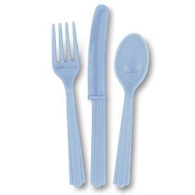 Plastbestikk - lyseblå, 18 deler
