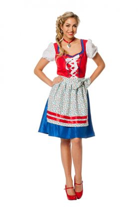 Oktoberfest kjole Rød og Blå