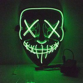 Grønn ledmaske med kryss over øynene og sting over munnen. Maskens bakgrunn er sort så det eneste som lyser opp er de mange lysglimtene på masken i grønt
