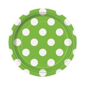 Limegrønn med prikker, 8 asjetter
