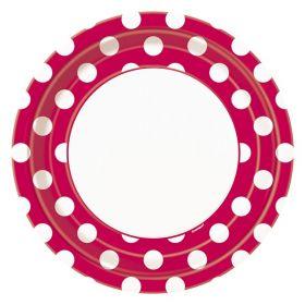 Rød med prikker, 8 tallerkener