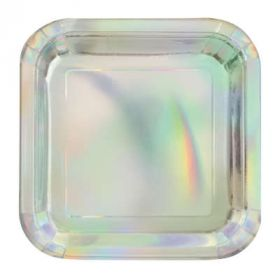 Iridescent firkantede asjetter, 8 stk