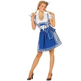 Bilde av en dame ikledd Tyrolerkjole Birgitte. Hvit og blå rutete kjole med hvit bluse og blått forkle.