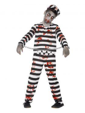 Bilde av en gutt i Zombie Fange kostyme. Stripete genser, bukse og hatt med blodflekker og håndjern med kjetting.