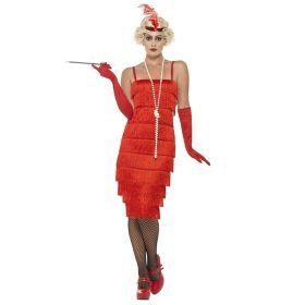 Flapper kjole, lang rød