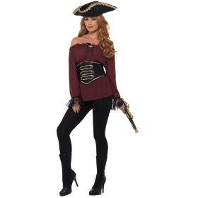 Burgunderrød Piratbluse