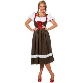 Bilde av en dame i Tyrolerkjole Austrian Lady. Grønn kjole med hvitt blonde dekor, rød knyting på korsetten og en innsydd, hvit bluse.