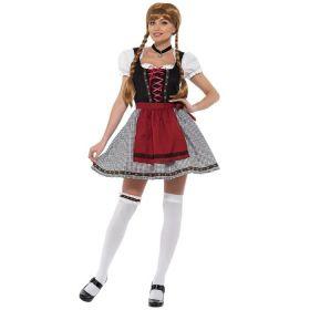 Bilde av en dame ikledd kostymet Fräulein Oktoberfestkjole. Sort og hvitt rutete skjørt, sort korsett, hvit bluse og et rødt forkle.