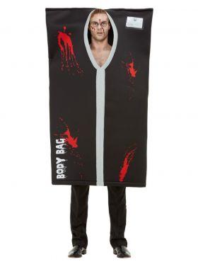 Blodig likpose kostyme, body bag kostyme, til voksne i sort og grå.