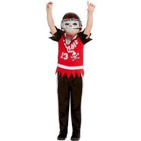 Bilde av en gutt i Zombie Amerikansk fotballspiller kostyme. Rød og sort skjorte, sorte bukser med hvit stripe og en hjelm med maske.