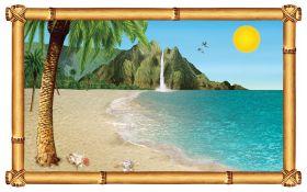 Veggdekorasjon, vindu, Tropical Beach