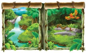 Veggdekorasjon, vindu, Jungle