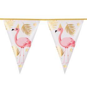rosa, stående flamingoer som har på seg en gullfarget partyhatt. girlander har gullfarget tråd samt. gull blader og stjerner på vimplene rundt den rosa flamingoen