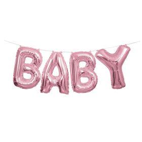 Baby lyserosa folieballong banner