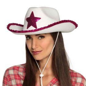 hvit cowboyhatt med glitrende rosa paljetter på kantene og en stor, rosa stjerne i paljetter midt på hatten på fremsiden