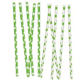 Papirsugerør, limegrønn med prikker