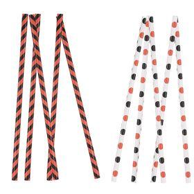 Papirsugerør, sorte og oransje striper og prikker