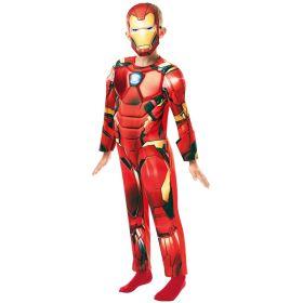 Bilde av en gutt kledd ut i Iron Man Deluxe kostyme til barn. Rød jumpsuit med 3D lignende detaljer og Iron Man maske.