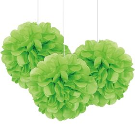 Grønn mini puff baller, 3 stk