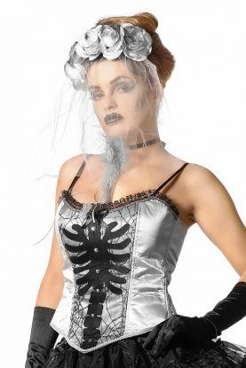 Sølv korsett med sorte stropper og blonder på toppen. på magen er det sorte spindelvev og skjelettdetaljer